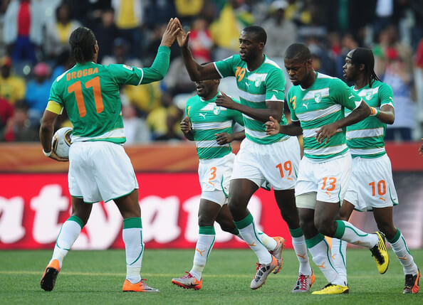 Yaya Toure in action for Ivory Coast in African Cup of Nations