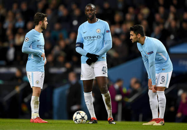 Yaya Toure in action for Manchester City FC in UEFA Champions League