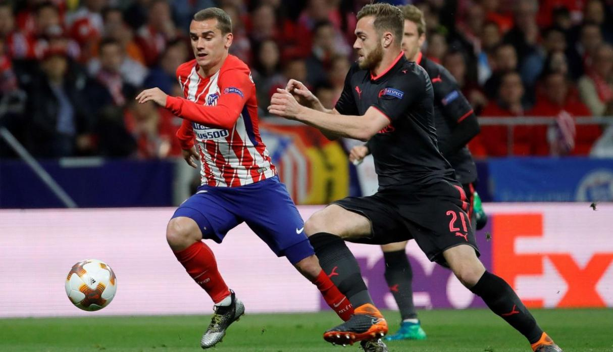Antoine Griezmann in action for Atletico Madrid FC against Arsenal FC in UEFA Europa League semi-final
