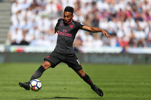 Arsenal's striker Pierre Emerick Aubameyang pictured before scoring his 10th English Premier League goal in Arsene Wenger's last match for the club against Huddersfield at John Smith's Stadium on Sunday, May 13, 2018, in West Yorkshire, England.