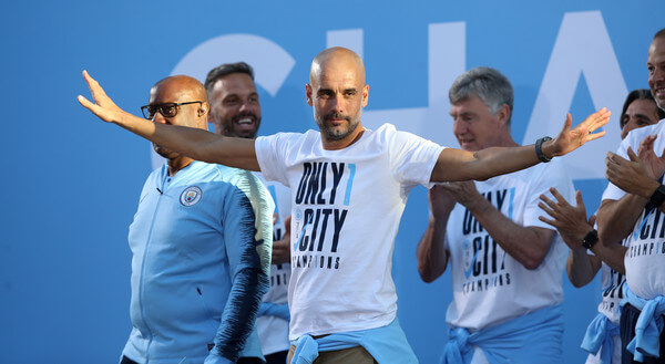 Manchester City Manager Josep Guardiola on stage during the Manchester City Trophy Parade in Manchester city centre on May 14, 2018 in Manchester, England.    (May 13, 2018 - Source: Lynne Cameron/Getty Images Europe)