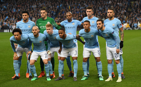 Manchester City pose for a team photo prior to the UEFA Champions League Quarter Final Second Leg match between Manchester City and Liverpool at Etihad Stadium on April 10, 2018 in Manchester, England.    (April 9, 2018 - Source: Shaun Botterill/Getty Images Europe)