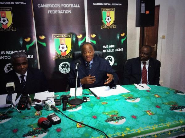 FECAFOOT holding a press conference in Cameroon addressing AFCON preparation.