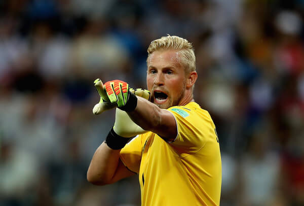 Kasper Schmeichel of Denmark reacts during the 2018 FIFA World Cup Russia Round of 16 match between 1st Group D and 2nd Group C at Nizhny Novgorod Stadium on July 1, 2018 in Nizhny Novgorod, Russia.  (June 30, 2018 - Source: Francois Nel/Getty Images Europe)