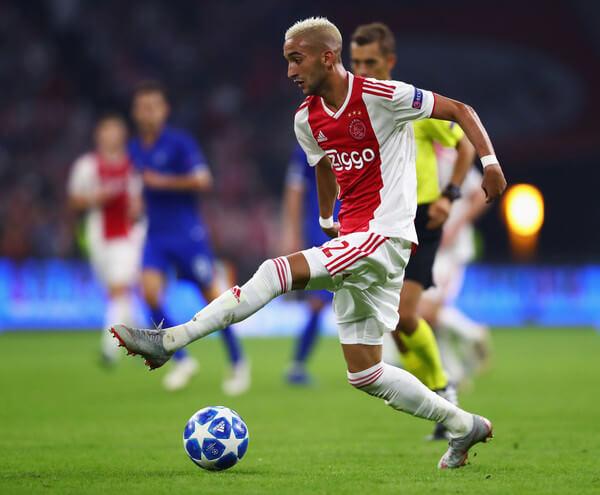 Hakim Ziyech of Ajax in action during the UEFA Champions League Play-off 1st leg match between Ajax and Dynamo Kiev held at Johan Cruyff Arena on August 22, 2018 in Amsterdam, Netherlands.  (Aug. 21, 2018 - Source: Dean Mouhtaropoulos/Getty Images Europe)
