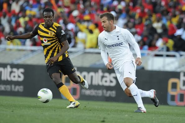 Rafael van der Vaart of Tottenham and Knowledge Musona of Chiefs during the 2011 Vodacom Challenge match between Kaizer Chiefs and Tottenham Hotspur at Peter Mokaba Stadium on July 16, 2011 in Polokwane, South Africa.  (July 15, 2011 - Source: Gallo Images/Getty Images Europe)