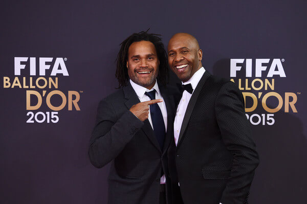 Christian Karembeu and Lucas Radebe attend the FIFA Ballon d'Or Gala 2015 at the Kongresshaus on January 11, 2016 in Zurich, Switzerland.  (Jan. 10, 2016 - Source: Matthias Hangst/Getty Images Europe)