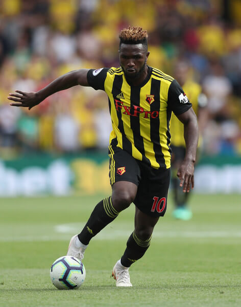 Isaac Success of Watford during the Premier League match between Watford FC and Brighton & Hove Albion at Vicarage Road on August 11, 2018 in Watford, United Kingdom.  (Aug. 10, 2018 - Source: Alex Morton/Getty Images Europe)