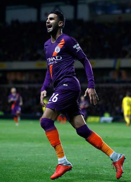 Riyad Mahrez of Manchester City celebrates after scoring his team's second goal during the Carabao Cup Third Round match between Oxford United and Manchester City at Kassam Stadium on September 25, 2018 in Oxford, England.  (Sept. 24, 2018 - Source: Julian Finney/Getty Images Europe)