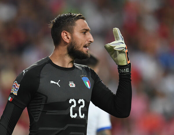 Gianluigi Donnarumma of Italy gestures during the UEFA Nations League A group three match between Portugal and Italy at on September 10, 2018 in Lisbon, Portugal.  (Sept. 9, 2018 - Source: Claudio Villa/Getty Images Europe)