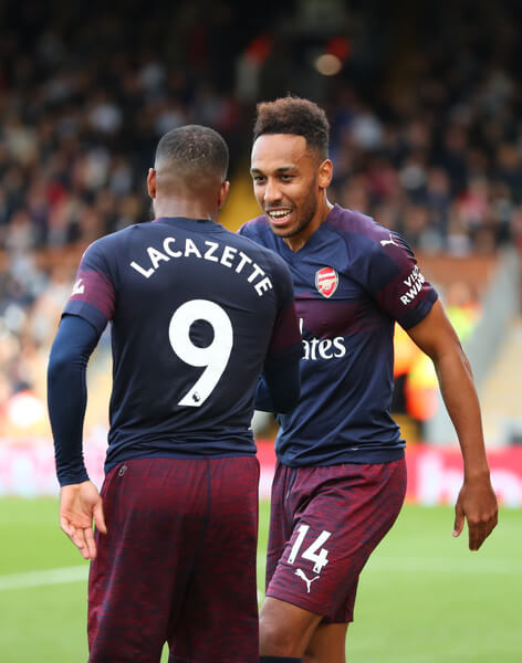Pierre-Emerick Aubameyang of Arsenal with Alexandre Lacazette of Arsenal during the Premier League match between Fulham FC and Arsenal FC at Craven Cottage on October 7, 2018 in London, United Kingdom.  (Oct. 6, 2018 - Source: Catherine Ivill/Getty Images Europe)