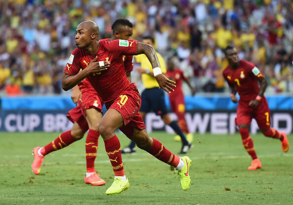 Andre Ayew of Ghana celebrates scoring his team's first goal during the 2014 FIFA World Cup Brazil Group G match between Germany and Ghana at Castelao on June 21, 2014 in Fortaleza, Brazil.  (June 20, 2014 - Source: Laurence Griffiths/Getty Images South America)