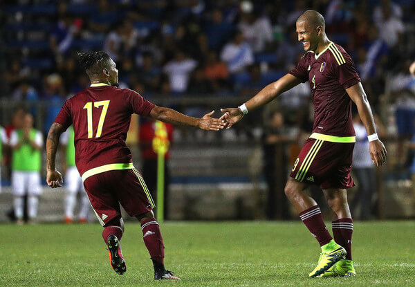 Jose Salomon Rondon #9 of Venezuela is congratulated by Josef Martinez #17 after scoring a goal during a game against Guatamala at Lockhart Stadium on June 1, 2016 in Boca Raton, Florida.  (May 31, 2016 - Source: Mike Ehrmann/Getty Images North America)