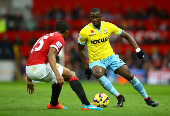 Antonio Valencia of Manchester United competes with Yannick Bolasie of Crystal Palace during the Barclays Premier League match between Manchester United and Crystal Palace at Old Trafford on November 8, 2014 in Manchester, England.  (Nov. 7, 2014 - Source: Richard Heathcote/Getty Images Europe)