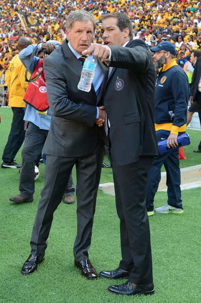 Head coach Staurt Baxter of Kaizer Chiefs and head coach Roger De Sa (R) Orlando Pirates during the Absa Premiership match between Orlando Pirates and Kaizer Chiefs at FNB Stadium on October 26, 2013 in Soweto, South Africa.  (Oct. 25, 2013 - Source: Gallo Images/Getty Images Europe)