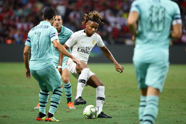 Christopher Nkunku of Paris Saint Germain in action during the International Champions Cup match between Arsenal and Paris Saint Germain at the National Stadium on July 28, 2018 in Singapore.  (July 27, 2018 - Source: Suhaimi Abdullah/Getty Images AsiaPac)