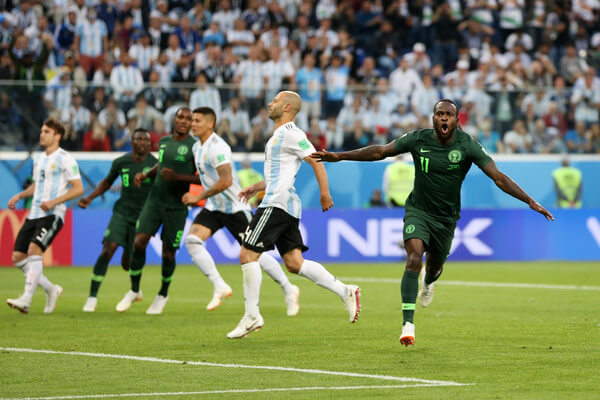 Victor Moses of Nigeria celebrates scoring his sides opening goal to make the score 1-1 during the 2018 FIFA World Cup Russia group D match between Nigeria and Argentina at Saint Petersburg Stadium on June 26, 2018 in Saint Petersburg, Russia.  (June 25, 2018 - Source: Gabriel Rossi/Getty Images Europe