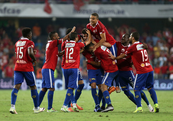 Al Ahly's Ahmed Mohammed celebrates his winning goal during the international friendly match between AS Roma and Al Ahly on May 20, 2016 in Al Ain, United Arab Emirates.  (May 19, 2016 - Source: Chris Whiteoak/Getty Images Europe)