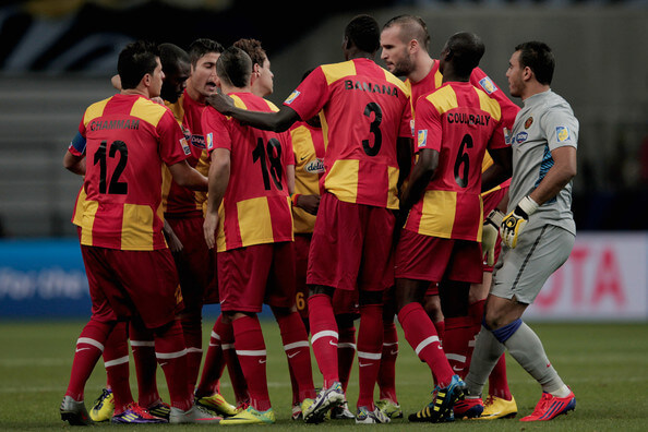 Esperance Sportive team discussing tactics before the FIFA Club World Cup 5th Place match between Club de Futbol Monterrey and Esperance Sportive de Tunis at Toyota Stadium on December 14, 2011 in Toyota, Japan.  (Dec. 13, 2011 - Source: Lintao Zhang/Getty Images AsiaPac)