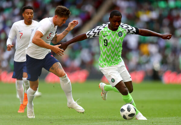 Odion Ighalo of Nigeria and John Stones of England in action during the International Friendly match between England and Nigeria at Wembley Stadium on June 2, 2018 in London, England.  (June 1, 2018 - Source: Clive Rose/Getty Images Europe)
