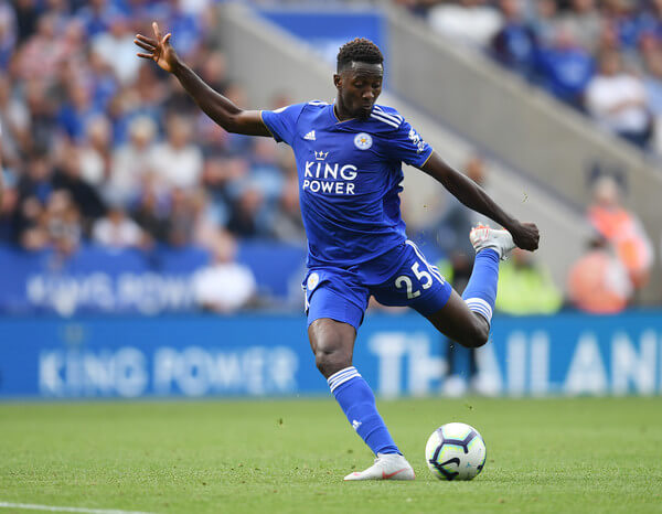 Wilfred Ndidi of Leicester in action during the Premier League match between Leicester City and Wolverhampton Wanderers at The King Power Stadium on August 18, 2018 in Leicester, United Kingdom.  (Aug. 17, 2018 - Source: Michael Regan/Getty Images Europe)