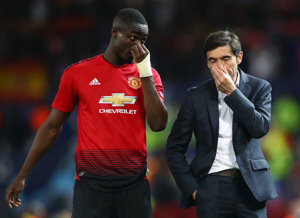 Eric Bailly of Manchester United speaks with Marcelino Garcia Toral, Manager of Valencia after the Group H match of the UEFA Champions League between Manchester United and Valencia at Old Trafford on October 2, 2018 in Manchester, United Kingdom.  (Oct. 1, 2018 - Source: Clive Brunskill/Getty Images Europe)