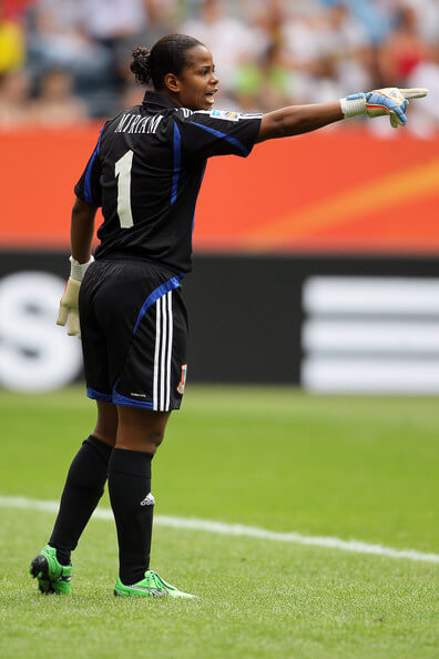 Miriam of Equatorial Guinea issues instructions during the FIFA Women's World Cup 2011 Group D match between Equatorial Guinea and Brazil at FIFA World Cup stadium Frankfurt on July 6, 2011 in Frankfurt am Main, Germany.  (July 5, 2011 - Source: Christof Koepsel/Getty Images Europe)
