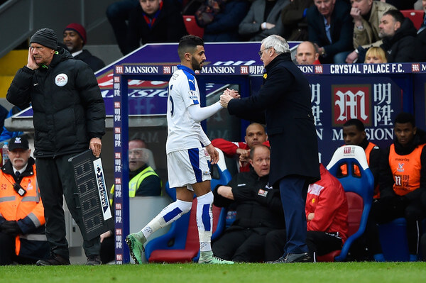 Riyad Mahrez of Leicester City shakes hands with manager Claudio Ranieri as he is replaced during the Barclays Premier League match between Crystal Palace and Leicester City at Selhurst Park on March 19, 2016 in London, United Kingdom.  (March 18, 2016 - Source: Mike Hewitt/Getty Images Europe)