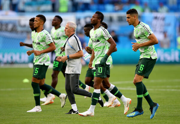Nigeria players warm up prior to the 2018 FIFA World Cup Russia group D match between Nigeria and Argentina at Saint Petersburg Stadium on June 26, 2018 in Saint Petersburg, Russia.  (June 25, 2018 - Source: Alex Livesey/Getty Images Europe)