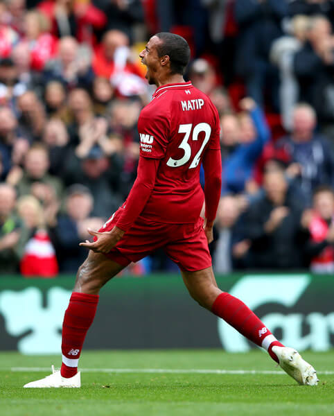 Joel Matip of Liverpool celebrates after scoring his team's second goal during the Premier League match between Liverpool FC and Southampton FC at Anfield on September 22, 2018 in Liverpool, United Kingdom.  (Sept. 21, 2018 - Source: Alex Livesey/Getty Images Europe)