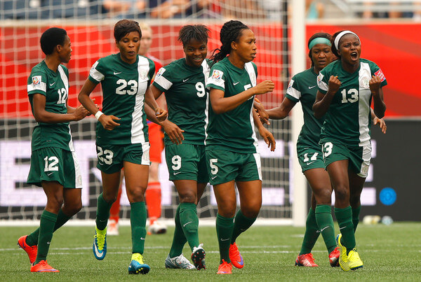 Ngozi Okobi #13 of Nigeria reacts after scoring the first goal against Sweden during the FIFA Women's World Cup Canada 2015 Group D match between Sweden and Nigeria at Winnipeg Stadium on June 8, 2015 in Winnipeg, Canada.  (June 7, 2015 - Source: Kevin C. Cox/Getty Images North America)