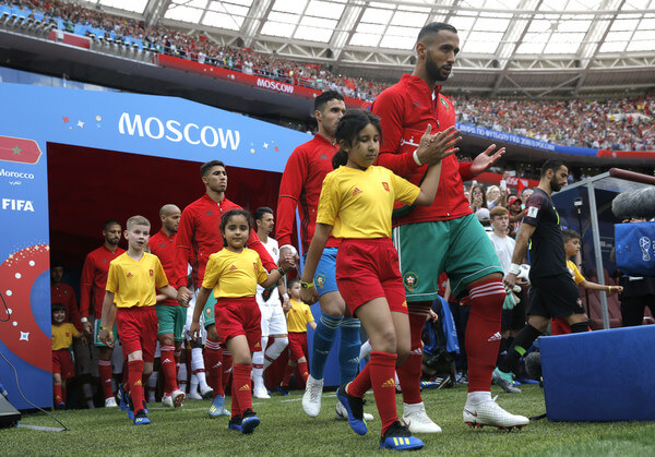 Mehdi Benatia of Morocco leads his team on the pitch prior to the 2018 FIFA World Cup Russia group B match between Portugal and Morocco at Luzhniki Stadium on June 20, 2018 in Moscow, Russia.  (June 19, 2018 - Source: Dean Mouhtaropoulos/Getty Images Europe)
