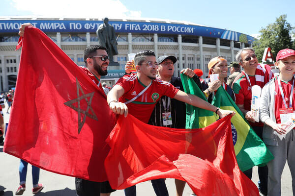 Morocco fans enjoy the pre match atmosphere prior to the 2018 FIFA World Cup Russia group B match between Portugal and Morocco at Luzhniki Stadium on June 20, 2018 in Moscow, Russia.  (June 19, 2018 - Source: Michael Steele/Getty Images Europe)