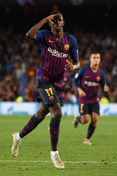 Ousmane Dembele of Barcelona celebrates after scoring his team's second goal during the Group B match of the UEFA Champions League between FC Barcelona and PSV at Camp Nou on September 18, 2018 in Barcelona, Spain.  (Sept. 17, 2018 - Source: Alex Caparros/Getty Images Europe)
