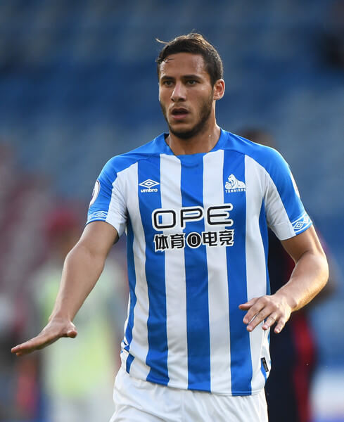 Ramadan Sobhi of Huddersfield Town looks on during a pre-season friendly match between Huddersfield Town and Olympique Lyonnais at John Smith's Stadium on July 25, 2018 in Huddersfield, England.  (July 24, 2018 - Source: Nathan Stirk/Getty Images Europe)