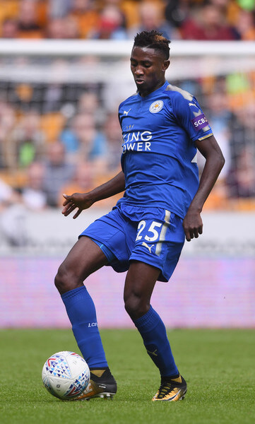 Wilfried Ndidi of Leicester in action during the pre-season friendly match between Wolverhampton Wanderers and Leicester City at Molineux on July 29, 2017 in Wolverhampton, England.  (July 28, 2017 - Source: Michael Regan/Getty Images Europe)