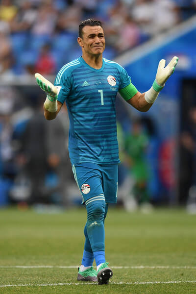 Essam El Hadary of Egypt reacts during the 2018 FIFA World Cup Russia group A match between Saudia Arabia and Egypt at Volgograd Arena on June 25, 2018 in Volgograd, Russia.  (June 24, 2018 - Source: Catherine Ivill/Getty Images Europe)