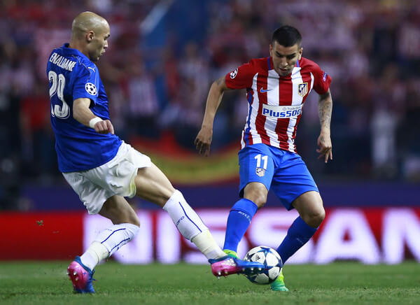 Angel Martin Correa (R) of Atletico de Madrid competes for the ball with Yohan Benalouane (L) of Leicester City FC during the UEFA Champions League Quarter Final first leg match between Club Atletico de Madrid and Leicester City at Vicente Calderon Stadium on April 12, 2017 in Madrid, Spain.  (April 11, 2017 - Source: Gonzalo Arroyo Moreno/Getty Images Europe)