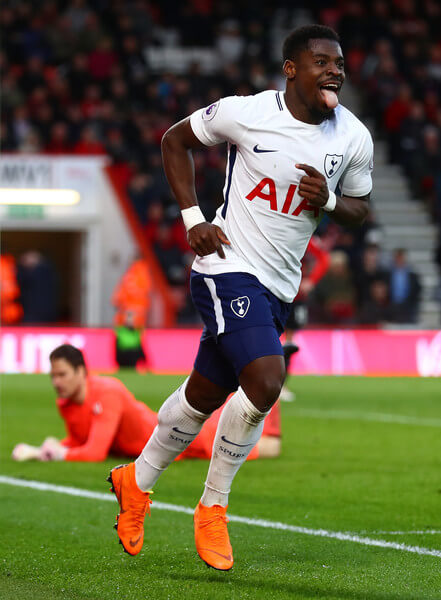 Serge Aurier of Tottenham Hotspur celebrates after scoring his sides fourth goal during the Premier League match between AFC Bournemouth and Tottenham Hotspur at Vitality Stadium on March 11, 2018 in Bournemouth, England.  (March 10, 2018 - Source: Clive Rose/Getty Images Europe)