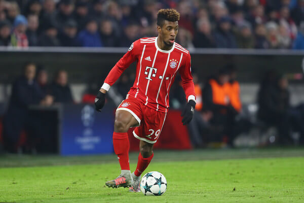 Kingsley Coman of FC Bayern Muenchen runs with the ball during the UEFA Champions League group B match between Bayern Muenchen and Paris Saint-Germain at Allianz Arena on December 5, 2017 in Munich, Germany.  (Dec. 4, 2017 - Source: Alexander Hassenstein/Bongarts)