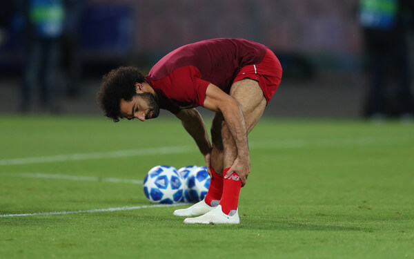 Mohamed Salah of Liverpool warms up before the Group C match of the UEFA Champions League between SSC Napoli and Liverpool at Stadio San Paolo on October 3, 2018 in Naples, Italy.  (Oct. 2, 2018 - Source: Catherine Ivill/Getty Images Europe)