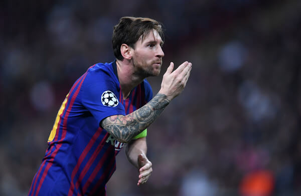 Lionel Messi of FC Barcelona celebrates scoring during the Group B match of the UEFA Champions League between Tottenham Hotspur and FC Barcelona at Wembley Stadium on October 03, 2018 in London, United Kingdom.  (Oct. 2, 2018 - Source: Getty Images Europe)