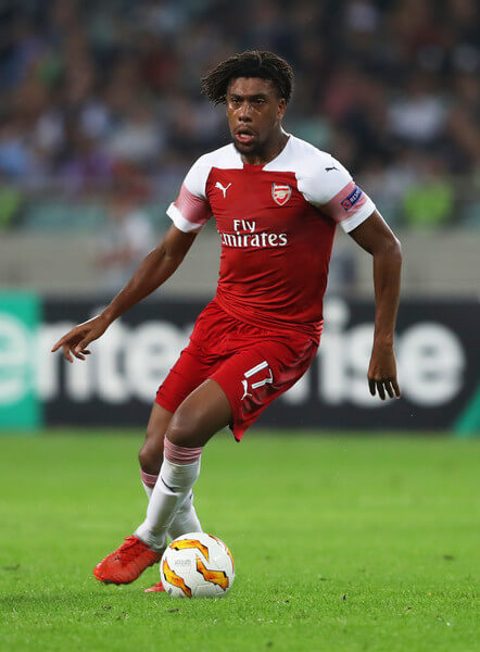 Alex Iwobi of Arsenal runs with the ball during the UEFA Europa League Group E match between Qarabag FK and Arsenal at on October 4, 2018 in Baku, Azerbaijan.  (Oct. 3, 2018 - Source: Francois Nel/Getty Images Europe)