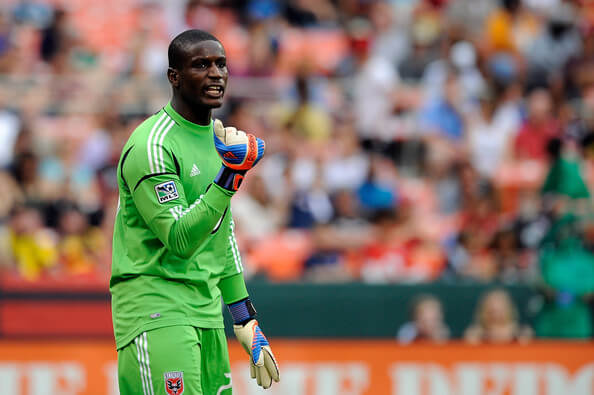 Bill Hamid #28 of DC United reacts during a game against the Philadelphia Union at RFK Stadium on August 19, 2012 in Washington, DC.  (Aug. 18, 2012 - Source: Patrick McDermott/Getty Images North America)