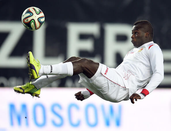 Emmanuel Frimpong of FC Ufa in action during the Russian Premier League match between PFC CSKA Moscow and FC Ufa at the Arena Khimki Stadium on November 29, 2014 in Khimki, Russia.  (Nov. 28, 2014 - Source: Epsilon/Getty Images Europe)