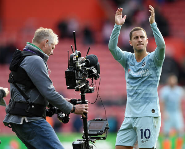 Eden Hazard of Chelsea applauds fans after the Premier League match between Southampton FC and Chelsea FC at St Mary's Stadium on October 7, 2018 in Southampton, United Kingdom.  (Oct. 6, 2018 - Source: Mike Hewitt/Getty Images Europe)