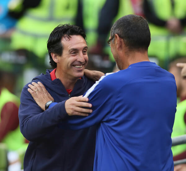 Arsenal manager Unai Emery greets Chelsea manager Maurizio Sarri during the Pre-season friendly International Champions Cup game between Arsenal and Chelsea at Aviva stadium on August 1, 2018 in Dublin, Ireland.  (July 31, 2018 - Source: Charles McQuillan/Getty Images Europe)