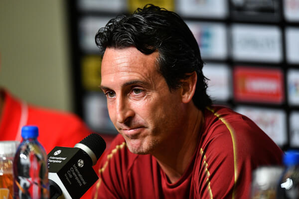 Unai Emery manager of Arsenal looks on pre match press conference ahead of the International Champions Cup 2018 match between Arsenal v Paris Saint Germain on July 27, 2018 in Singapore.  (July 26, 2018 - Source: Thananuwat Srirasant/Getty Images AsiaPac)