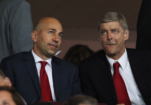 Arsene Wenger manager of Arsenal (R) and Ivan Gazidis, CEO of Arsenal (L) look on prior to the UEFA Champions League Group F match between Arsenal and Olympiacos at the Emirates Stadium on September 28, 2011 in London, England.  (Sept. 27, 2011 - Source: Clive Rose/Getty Images Europe)