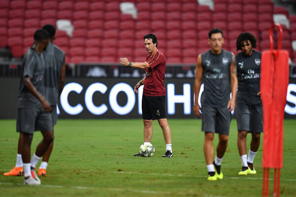 Unai Emery manager of Arsenal actions during training ahead of the International Champions Cup 2018 match between Arsenal v Paris Saint Germain on July 27, 2018 in Singapore.  (July 26, 2018 - Source: Thananuwat Srirasant/Getty Images AsiaPac)